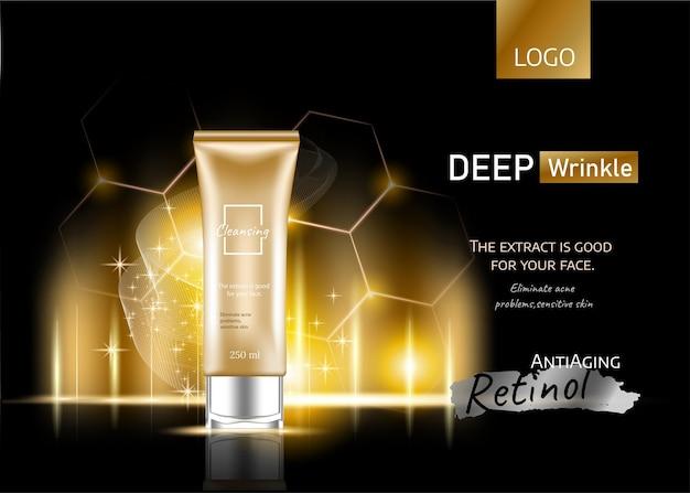 Anúncios de produtos cosméticos, cor com efeito de luz dourada e cosmético de garrafa com luzes cintilantes