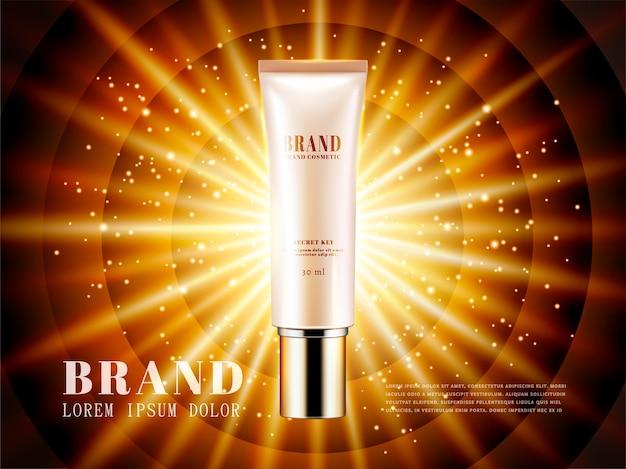 Anúncios de produtos cosméticos, embalagem de tubo de plástico em fundo de flash brilhante na ilustração