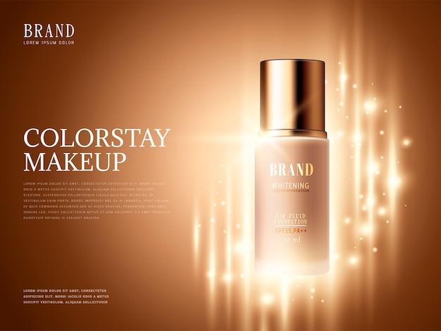 Anúncios de produtos de base, produto essencial para maquiagem com elementos brilhantes na ilustração