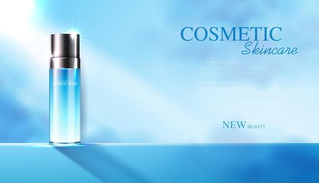 Anúncios de produtos de cosméticos ou de cuidados com a pele com banner de garrafa para céu e nuvem de produtos de beleza