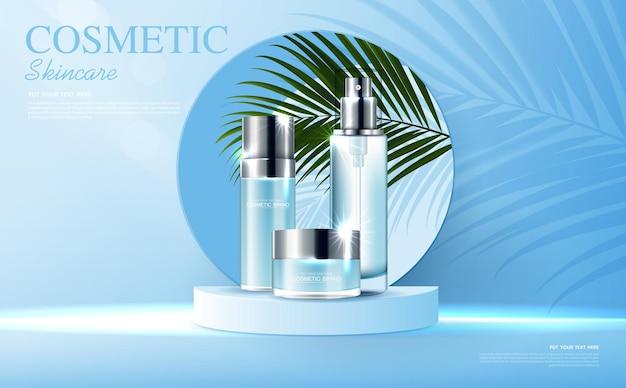 Anúncios de produtos de cosméticos ou de cuidados com a pele com banner de garrafa para produtos de beleza azul e folha