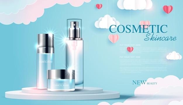 Anúncios de produtos de cosméticos ou de cuidados com a pele com banner de garrafa para produtos de beleza com arte em papel do amor