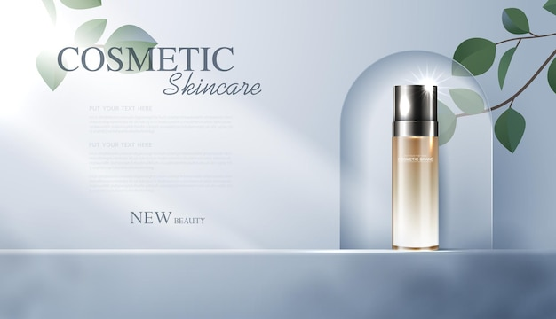 Anúncios de produtos de cosméticos ou de cuidados com a pele com banner de garrafa para produtos de beleza e fundo de folha