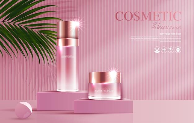 Anúncios de produtos de cosméticos ou de cuidados com a pele com banner de garrafa para produtos de beleza rosa e folha