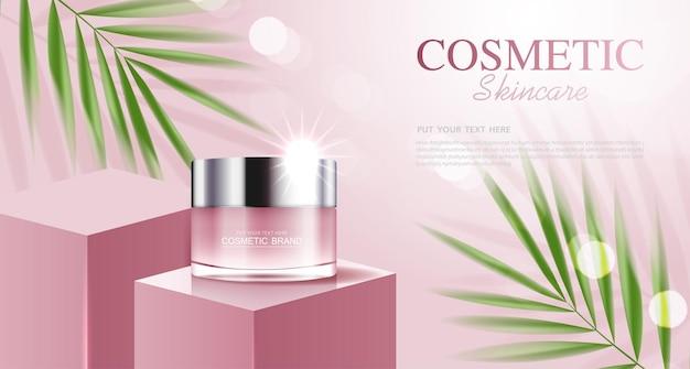 Anúncios de produtos de cosméticos ou de cuidados com a pele com fundo rosa de garrafa com vetor de folhas tropicais
