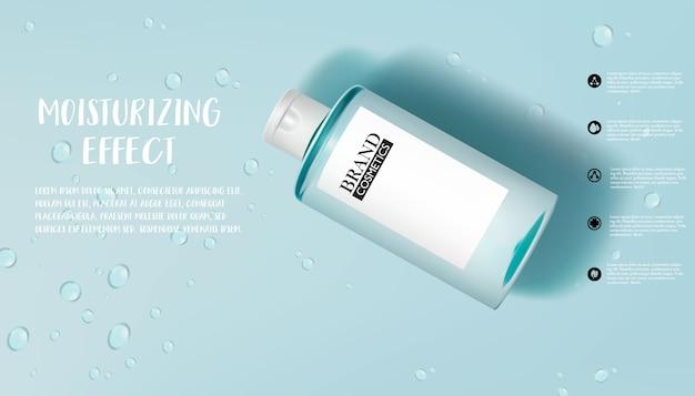 Anúncios de produtos de cuidados com a pele com umidade com gota d'água