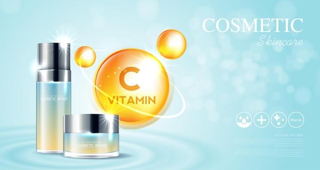Anúncios de produtos de vitamina c em cosméticos ou cuidados com a pele com efeito de luz cintilante de fundo azul e frasco