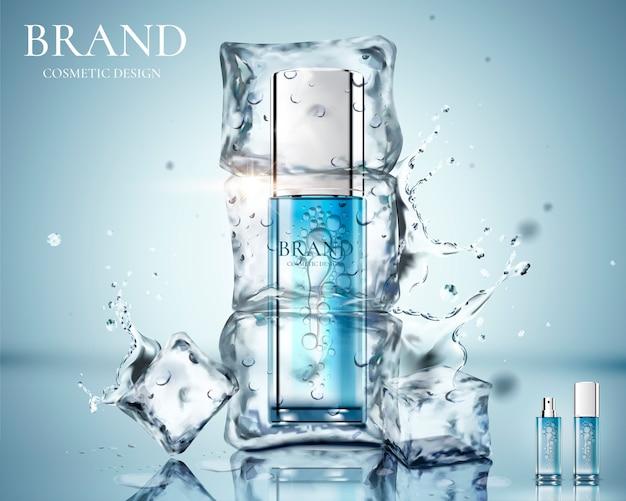 Anúncios de produtos para a pele com o produto congelado no gelo