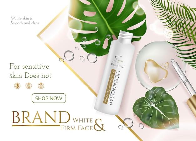 Anúncios de produtos para cuidados com a pele para propaganda com folhas tropicais em fundo de pedra de mármore na ilustração de maquete, vista superior