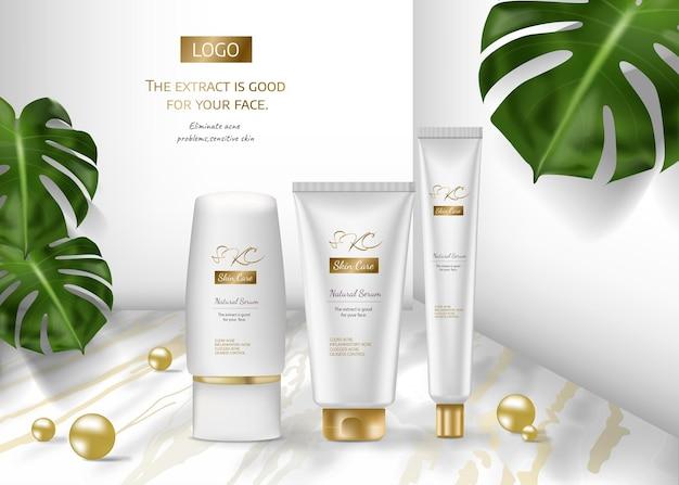 Anúncios de produtos para cuidados com a pele para propaganda com folhas tropicais em fundo de pedra de mármore na maquete