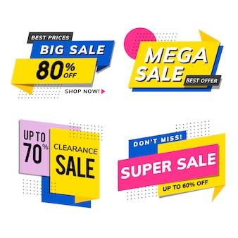 Anúncios de promoção de venda vector set