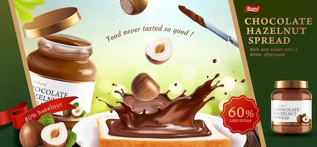 Anúncios de propagação de avelã de chocolate com deliciosas torradas na ilustração 3d