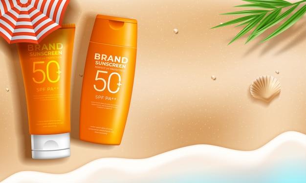 Anúncios de protetor solar na cena de praia de verão relaxante