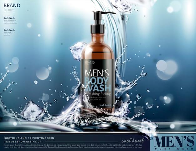 Anúncios de sabonete líquido masculino com respingos de água e cubos de gelo em um fundo brilhante