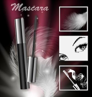 Anúncios de série de cosméticos de beleza de rímel premium em um fundo escuro modelo para cartazes de design