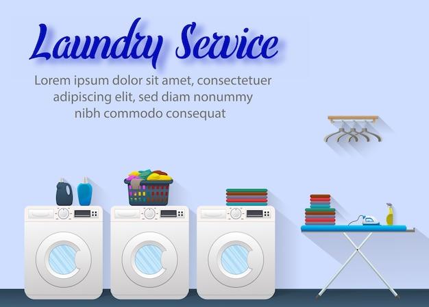 Anúncios de serviço de lavandaria banner conceito design