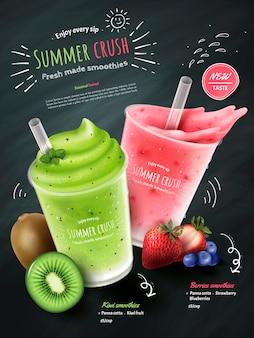 Anúncios de smoothies de frutas, copo de suco de frutas e kiwi com frutas frescas isoladas no fundo do quadro de giz