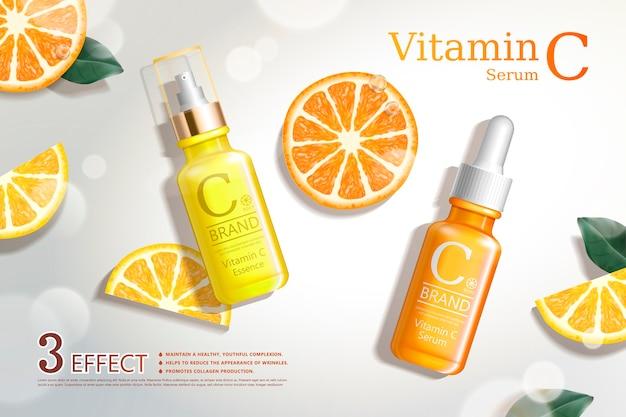 Anúncios de soro de vitamina c com seções de frutas cítricas refrescantes e frasco de gotas