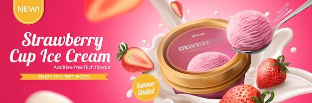 Anúncios de sorvete de copo de morango com leite escorrendo de cima para baixo com fruta no fundo rosa, ilustração 3d