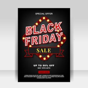 Anúncios de venda de flyer de sexta-feira em plano de fundo preto com lâmpada de luz