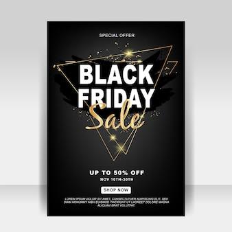 Anúncios de venda de flyer de sexta-feira preta em plano de fundo