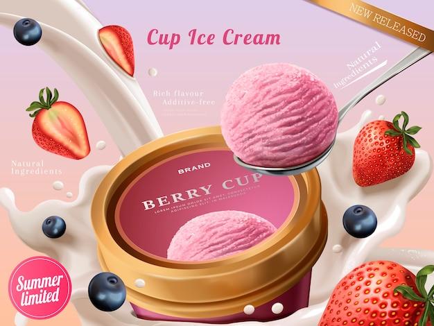 Anúncios de xícara de sorvete de frutas vermelhas, uma bola de sorvete premium de morango com leite e frutas fluindo