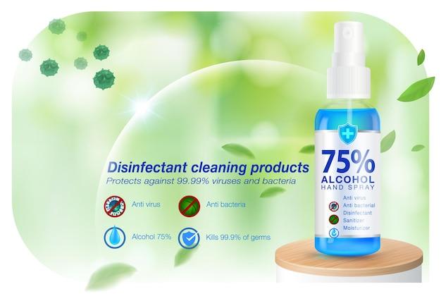 Anúncios desinfetantes para limpeza de mãos em spray desinfetante para as mãos