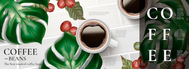 Anúncios elegantes em banner de café com vista superior de café preto e folhas tropicais