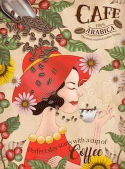 Anúncios elegantes em grãos de café arábica, uma senhora de vestido vermelho aprecia uma xícara de café preto em estilo gravura