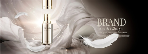 Anúncios em banner de cosméticos com chiffon voador e penas