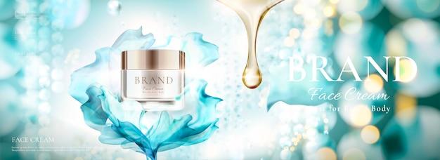 Anúncios em banner de cosméticos com frasco de creme facial e chiffon voador