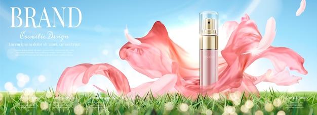 Anúncios em banner de cosméticos com frasco de spray com chiffon voador