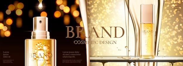 Anúncios em banner de cosméticos com spray dourado e fundo brilhante bokeh