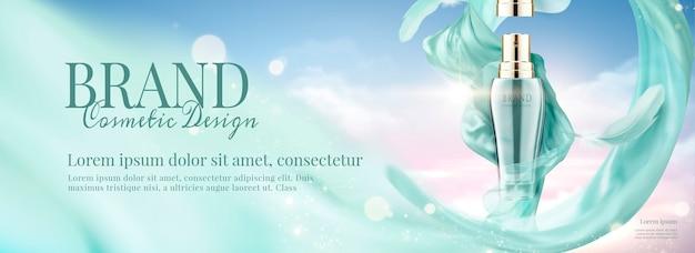 Anúncios em banner de cosméticos com spray e chiffon voador