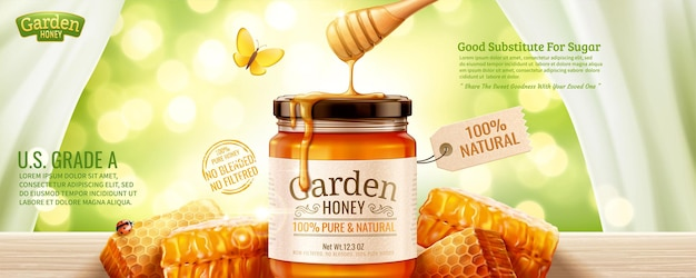 Anúncios em banner de mel de natureza com favo de mel e líquido escorrendo de cima em fundo verde brilhante na ilustração 3d
