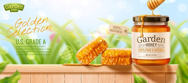 Anúncios em banner de mel de natureza com favo de mel na cerca de madeira e fundo de grama bokeh na ilustração 3d