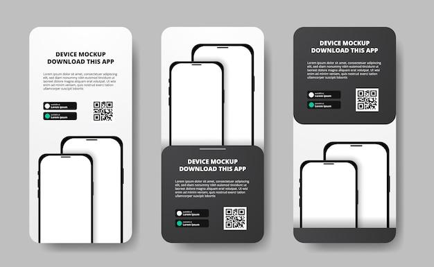 Anúncios em banner de mídia social para download de aplicativo para celular, smartphone duplo. botões de download com modelo de código qr de digitalização. perspectiva 3d do telefone