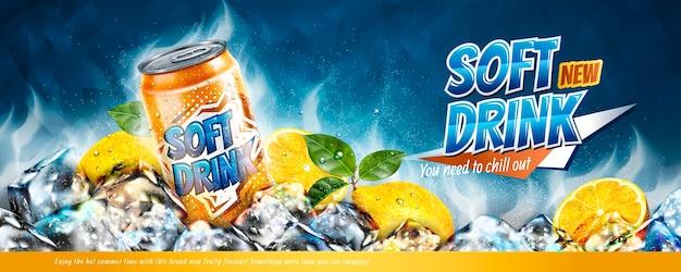 Anúncios em banner de refrigerantes com cubos de gelo e elementos cítricos na ilustração