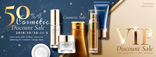 Anúncios em banner de venda de aniversário com conjunto de produtos para a pele no fundo do glitterng