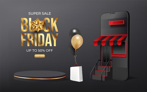 Anúncios em banner de venda na sexta-feira negra com smartphone e pódio