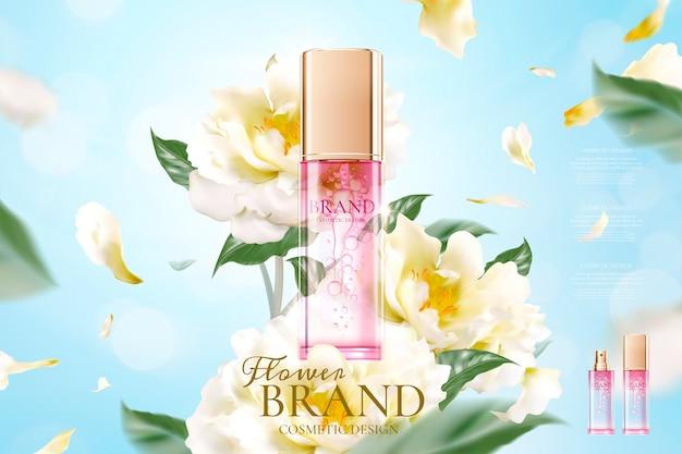 Anúncios florais de cuidados com a pele com pétalas voando pelo produto