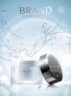 Anúncios hidratantes de cuidados com a pele com frasco de creme e respingos de efeito água em fundo azul brilhante, ilustração 3d