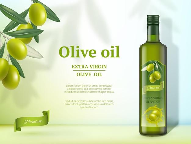 Anúncios olive. óleo para cozinhar banner promocional de produto gourmet saudável de alimentos naturais com garrafas de vidro.
