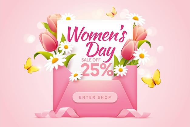 Anúncios pop-up de liquidação do dia da mulher com 25% de desconto decorados com flores