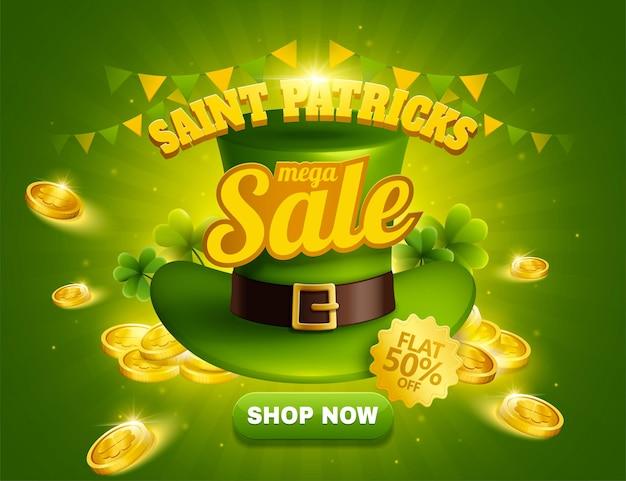 Anúncios pop-up de liquidação do dia de são patrício com chapéu de duende verde e moedas de ouro