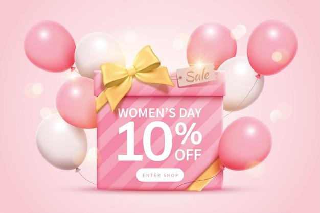 Anúncios pop-up de venda para o dia das mulheres decorados com uma grande caixa de presente com laço de fita dourada