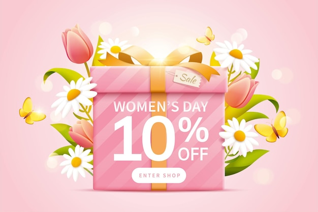 Anúncios pop-up para a venda do dia da mulher com conceito de design floral de primavera
