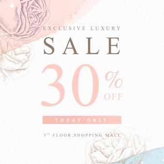 Anúncios promocionais de loja de rosas desenhadas à mão
