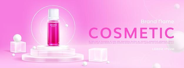Anúncios realistas de cosméticos em pódio de vidro