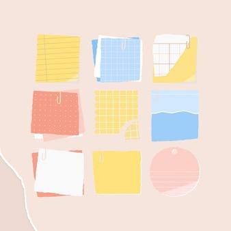 Anúncios sociais de coleção de notas em papel colorido